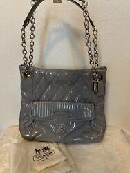 💯 Authentic New Coach Patent Leather Handbag Glossy Gray
