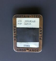 Vintage Pin Badge Pantex Ordnance Plant Certain-teed Products - Nuclear Facility
