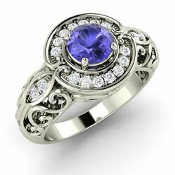 14k White Gold Antique Look Engagement Ring Certified Tanzanite And Si/gh Diamond