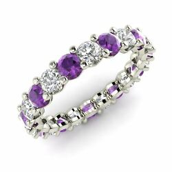 Certified 2.03 Ctw Amethyst And Gh Si Diamond 10k White Gold Eternity Band Ring