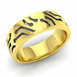 6 Mm Two Tone Cut Outs Menand039s Ring / Band In Solid 14k Yellow Gold-free Engrave
