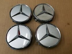 Mercedes-benz Oem S430 S500 S600 Silver And Chrome Set Center Cap 220 400 01 25