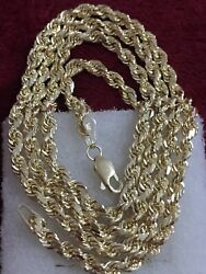 14kt Yellow Gold 3mm Solid And Heavy Rope Chain 24 Inches