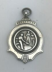 Vintage Sterling Silver Watch Fob Medal. Birm 1954 For Tennis