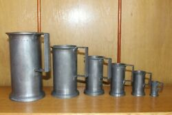 French Antique Solid Pewter Measures/tankards Full Set The Complete Collection