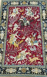 Silk And Wool Hunting Pictorial Hand Made Vintage Oriental Rug Hand-washed 4.5 X 7