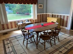 Dining Room Set 1970s - Ethan Allen, Maple, 6 Chairs, Brown Finish.