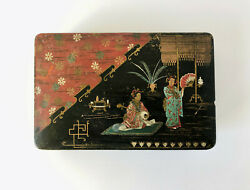 Antique Japanese Lacquer Hand Painted Box