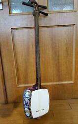 Tsugaru Shamisen Japanese High Class Red Wood With Case Vintage F/s