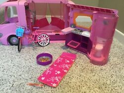 2008 Mattel Barbie Doll Pink Dream Glamour Camper Rv Motor Home W/ Pop Out Tent