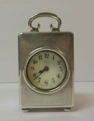 English Sterling Silver Case Miniature Carriage Clock, French Works, C 1921