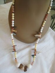 Kenneth Lane Necklace Shelland039s And Beads Brown And Cream 30