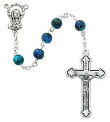Blue Swirl Beads Rosary Necklace Silver Ox Crucifix And Center W Gift Box Italy