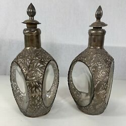 Chinese Export Silver Mounted Decanters Bamboo And Dragon Chasing Pearl Design A/f