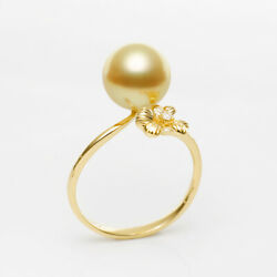 5a Flawless Round Rich Golden South Sea Pearl Ring 14k Yellow Goldanddiamond7