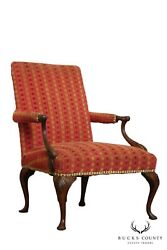 Queen Anne Style Vintage 1920and039s Carved Walnut Armchair