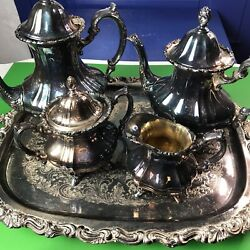 Vintage Poole Epca Silver Plate Coffee Tea 6 Piece Butler Waiter Large Hevy Tray