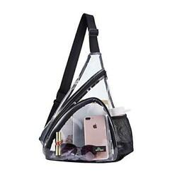 Clear Sling Bag Stadium Approved Transparent Shoulder Cross body Backpack Perfec $14.38