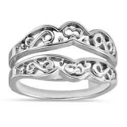 14k Solid White Gold Withour Diamond Engagement Wrap Ring Guard Enhancer