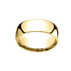 14k Yellow Gold 8mm Slightly Dome Comfort Fit Classic Wedding Band Ring Sz 6