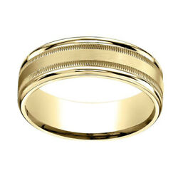 10k Yellow Gold 7mm Comfort-fit Satin Finish Center W/ Milgrain Band Ring Sz-10