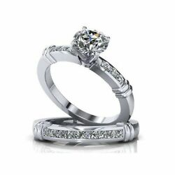1/3 Ct Simulated Rings Set Wedding Bridal Band 14k Solid White Gold