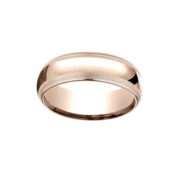 14k Rose Gold 7mm Slightly Dome Comfort Fit Band Ring Sz 12 W/ Double Milgrain