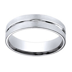 14k White Gold 6mm Comfort Fit Polished Center Cut Carved Menand039s Band Ring Sz 12