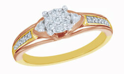 1/5 Ct Round Cut White Natural Diamond Cluster Promise Ring In 10k Yellow Gold
