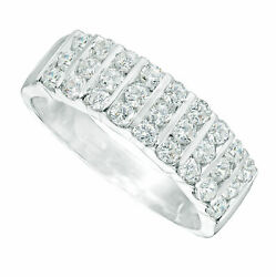 3/4 Carat Solid 10k White Gold Natural Diamond Triple Row Band
