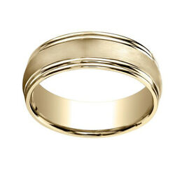 14k Yellow Gold 7.5mm Comfort Fit Satin Finish Double Round Edge Band Ring Sz 10