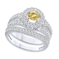 5 Ct Round Golden Genuine Moissanite Bridal Engagement Rings In Sterling Silver