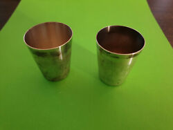 Pair Of Vintage German Silver 800 Wilkens Marked 8026 Schnapps Cup Shot.