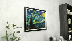 Starry Night By Vincent Van Gogh Framed Canvas Giclee Vintage Poster