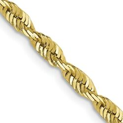2.8mm 10k Yellow Gold Diamond Cut Hollow Rope Chain Necklace
