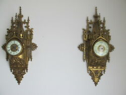 Vincenti French Cartel30 Inches Tall Bronze Wall Clock Barometer Set Antique