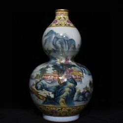 11.6and039and039 China Antique Vase Five-colored Porcelain Vase Old Pottery Vase Xzs