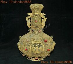 9chinese Pure Silver Filigree 24k Gold Gilt Inlay Gem Butterfly Bottle Pot Vase