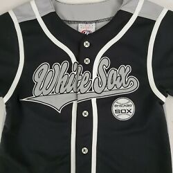 Chicago White Sox MLB True Fan Jersey Youth Large Black Sliver Button Front  $16.89