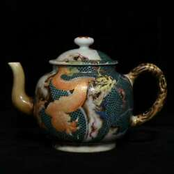 6.4and039and039 China Antique Teapot Five-colored Porcelain Teapot Old Pottery Kettle Xzs