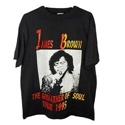 Rare Tultex Vintage Black James Brown 1995 The Godfather Of Soul Tour Tee