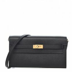 HERMES Women's AUTHENTIC NEW Black Leather Kelly Wallet With Box