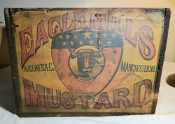 Very Rare Eagle Mills Mustard A.h. Glines And Co Manchester, Nh Antique Wooden Box