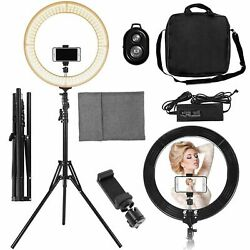 19 Led Smd Ring Light Kit With Stand Dimmable 5500k For Makeup Phone Camera