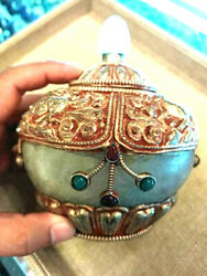Antique Exquisite Skill Crafted Crystal Gold Tibet Mythical Dragon Prayer Stupa