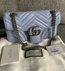 NWT Gucci Marmont Small Pastel Blue Leather Chain Shoulder Crossbody Bag $1,690.00