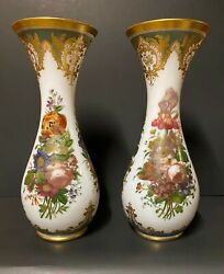 A Pair Of Opaque Trumpet Shaped Gilded And Painted Opaline Glass Vases