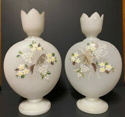 Pair Of Translucent Flat Round Painted And Gilded White Opaline Glass Vases