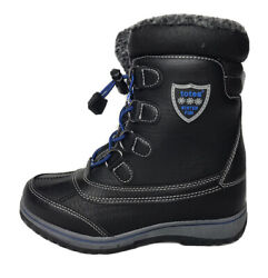Totes Thermolite Winter Fun Black Blue Winter Snow Boots Kids Youth Size: 2 $14.62