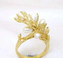 Ladies 14k Yellow Gold Freshwater Rice Shape Pearls In Branch Shape Ring